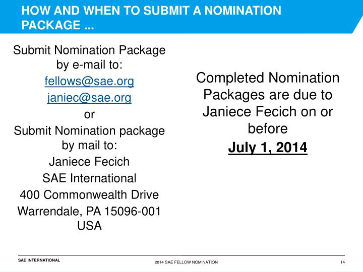 HOW AND WHEN TO SUBMIT A NOMINATION