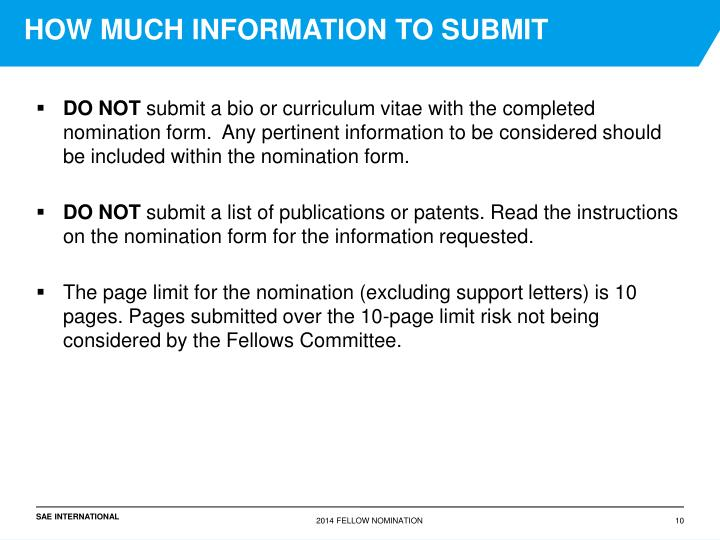 HOW MUCH INFORMATION TO SUBMIT