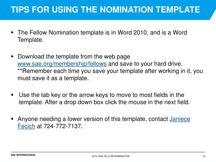 TIPS FOR USING THE NOMINATION TEMPLATE