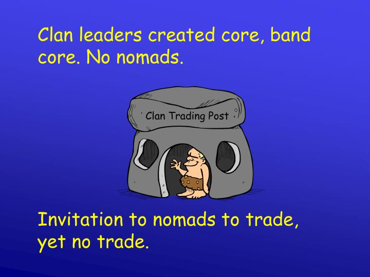 Clan leaders created core, band core. No nomads.