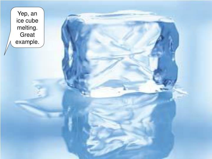 Yep, an ice cube melting. Great example.