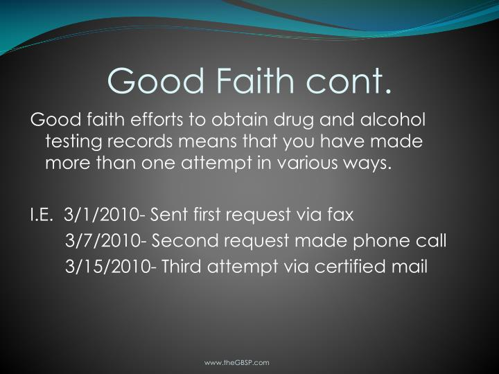Good Faith cont.
