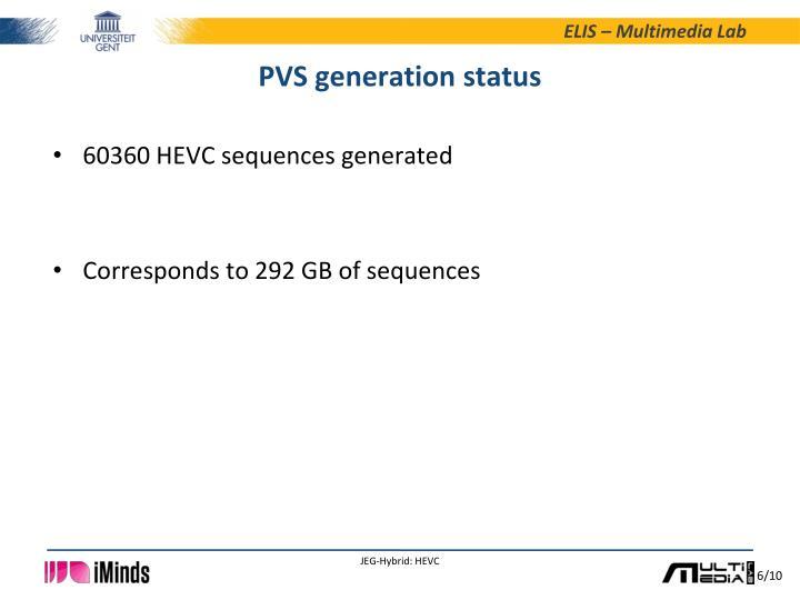 PVS generation status