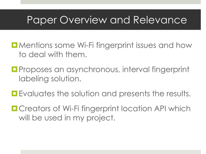 Paper Overview and Relevance