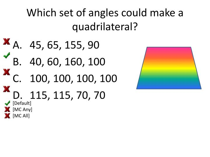 Which set of angles could make a quadrilateral?
