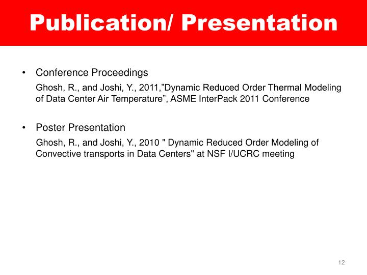 Publication/ Presentation