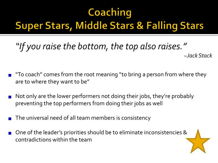 Coaching super stars middle stars falling stars
