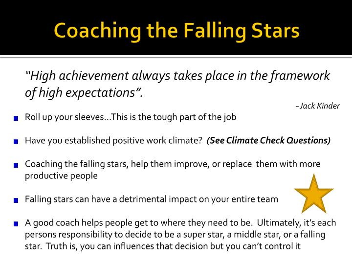 Coaching the Falling Stars