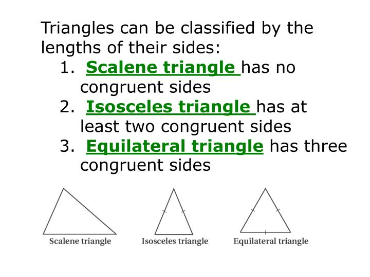 Triangles can be classified by the lengths of their sides: