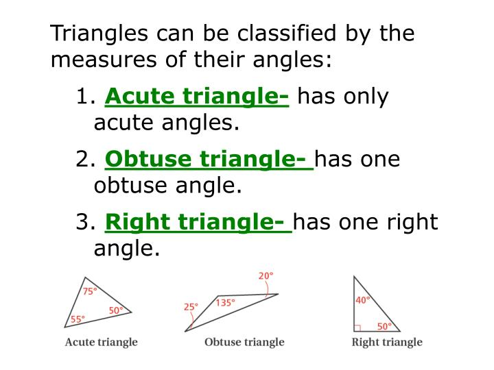 Triangles can be classified by the measures of their angles:
