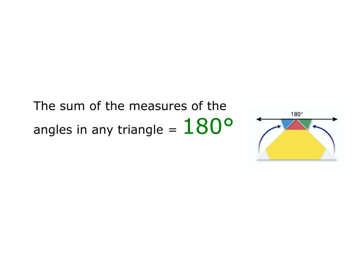 The sum of the measures of the angles in any triangle