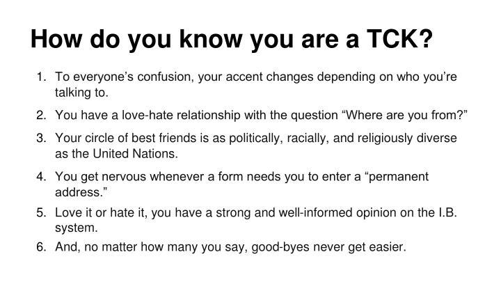 How do you know you are a TCK?