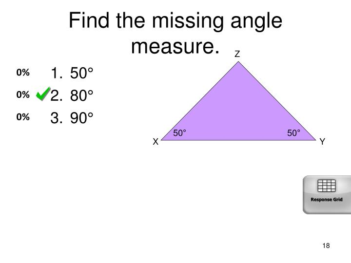 Find the missing angle measure.