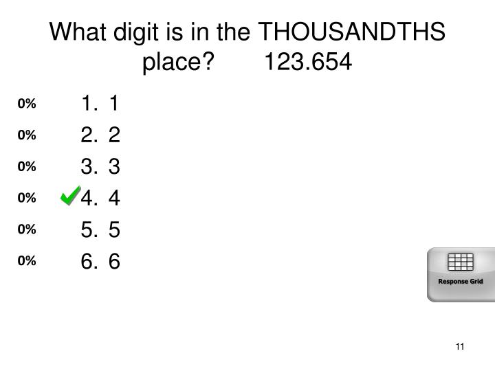 What digit is in the THOUSANDTHS place?       123.654