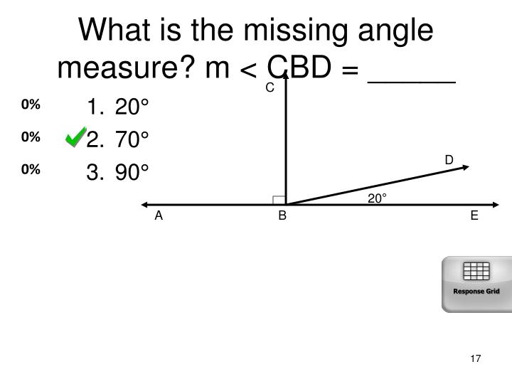 What is the missing angle measure? m < CBD = _____