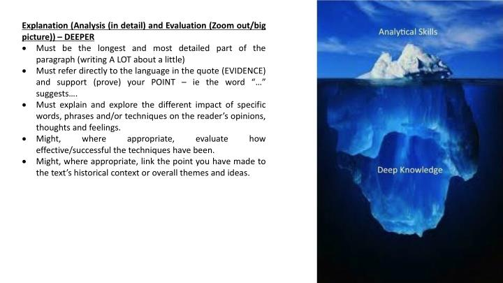 Explanation (Analysis (in detail) and Evaluation (Zoom out/big picture)) – DEEPER