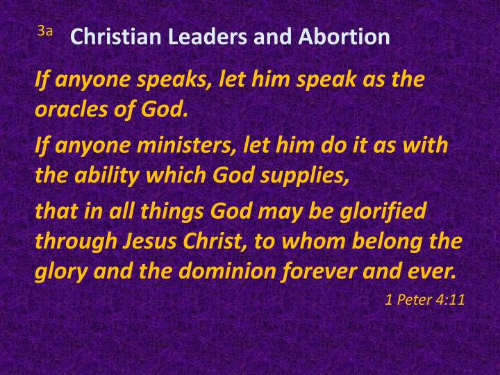 Christian Leaders and Abortion
