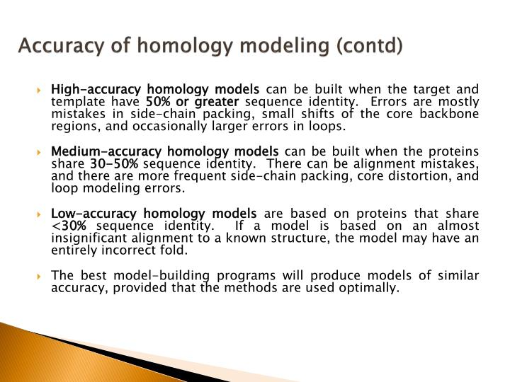 Accuracy of homology modeling (