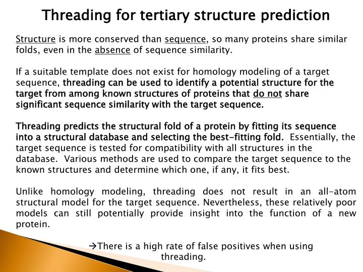 Threading for tertiary structure