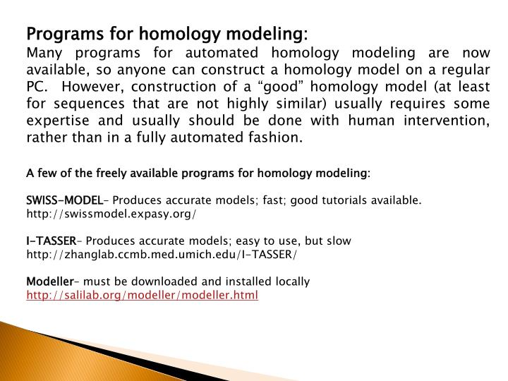 Programs for homology modeling: