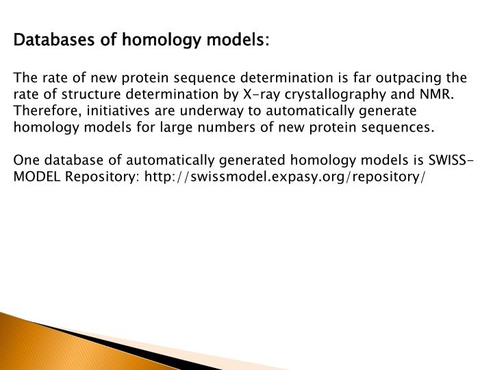 Databases of homology models