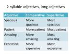 2 syllable adjectives long adjectives