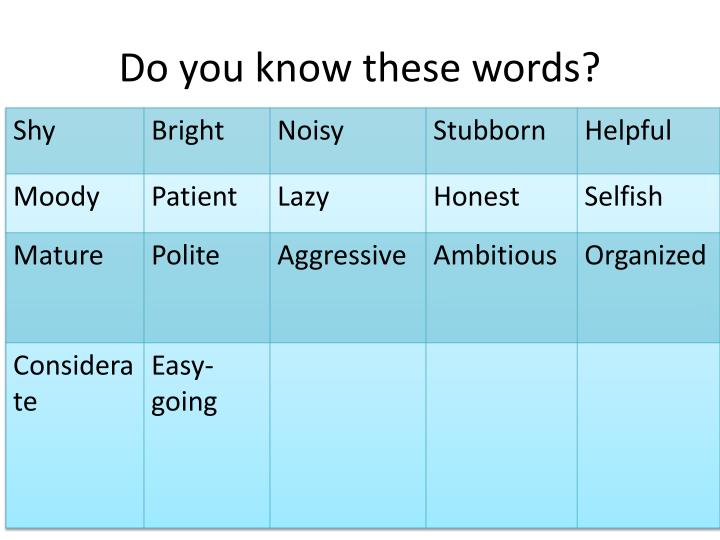 Do you know these words?