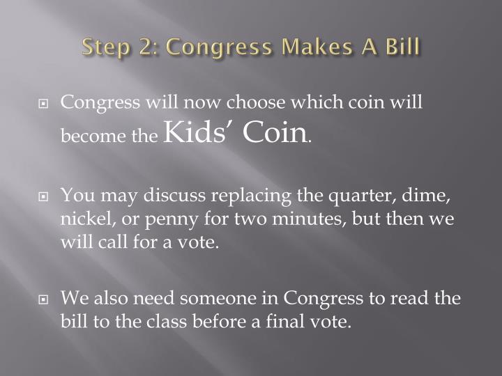Step 2: Congress Makes A Bill