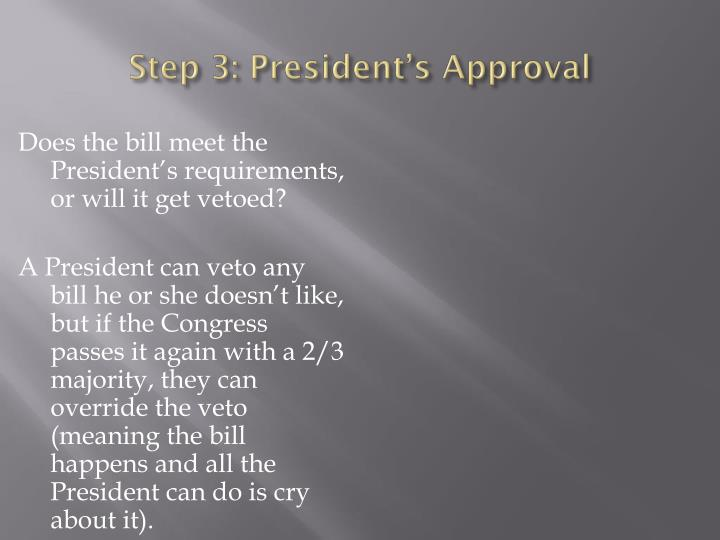 Step 3: President's Approval