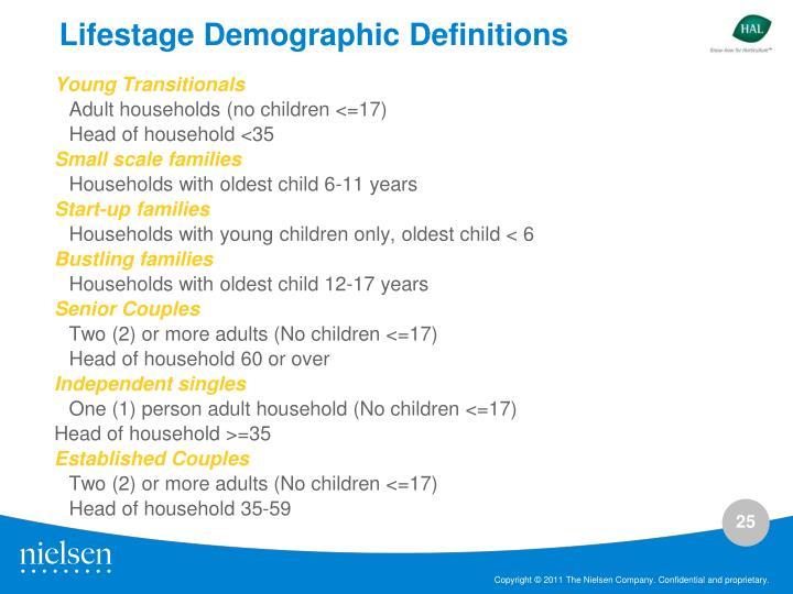 Lifestage Demographic Definitions