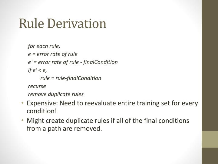Rule Derivation
