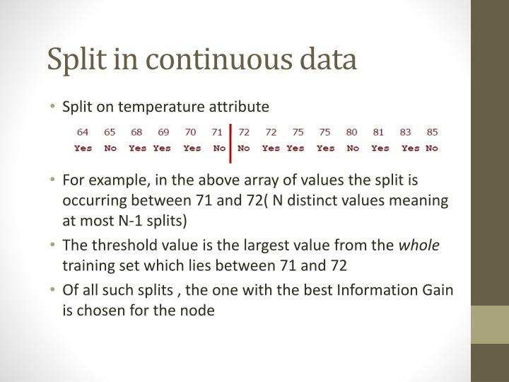 Split in continuous data
