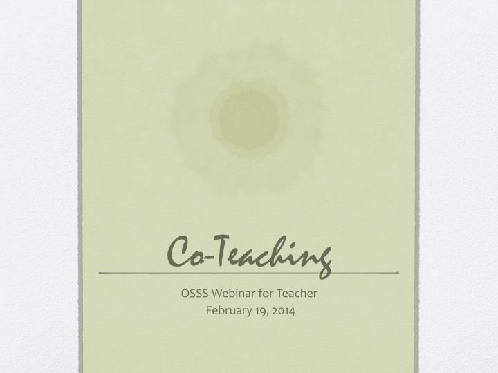 Co teaching