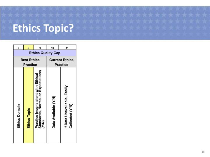 Ethics Topic?