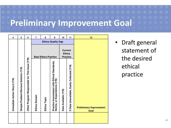 Preliminary Improvement Goal