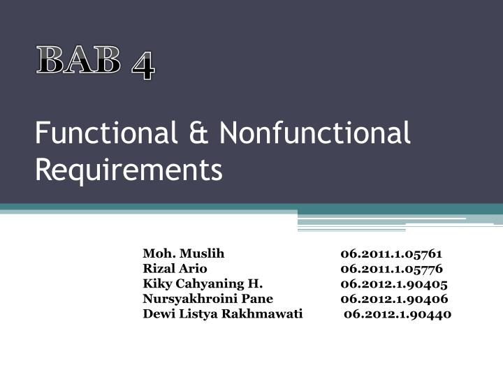 Functional nonfunctional requirements