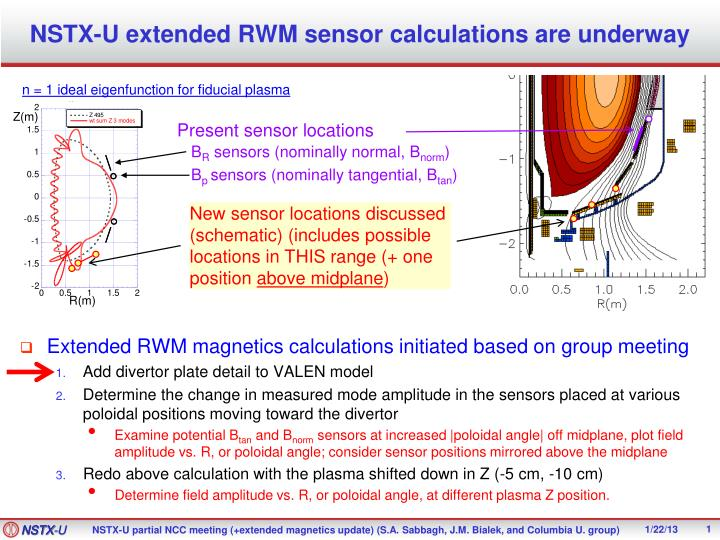 Nstx u extended rwm sensor calculations are underway