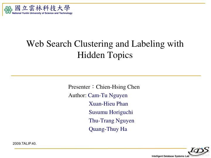 Web search clustering and labeling with hidden topics