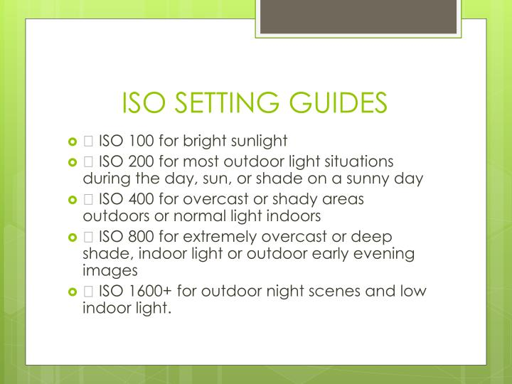 ISO SETTING GUIDES