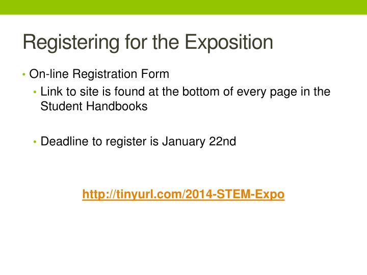 Registering for the Exposition