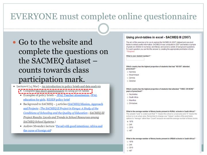 EVERYONE must complete online questionnaire