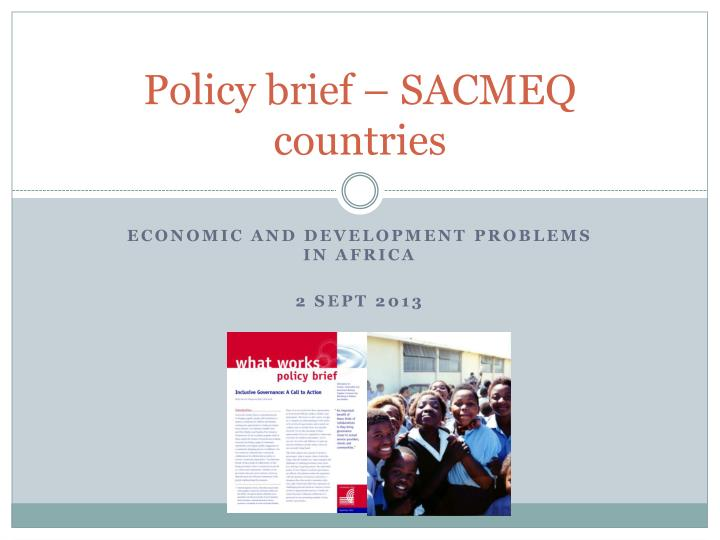 policy brief sacmeq countries