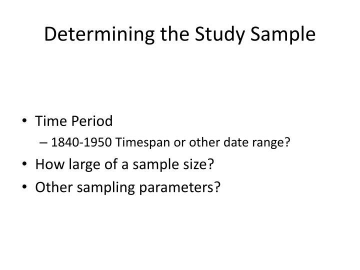 Determining the Study Sample