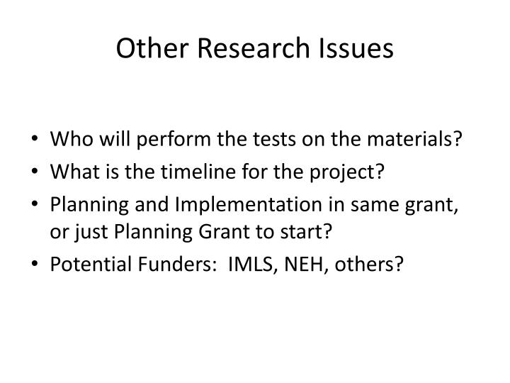 Other Research Issues