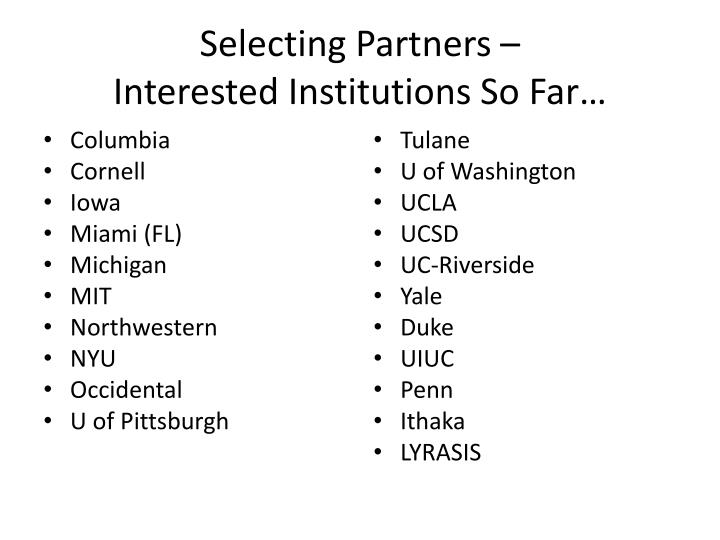 Selecting Partners –