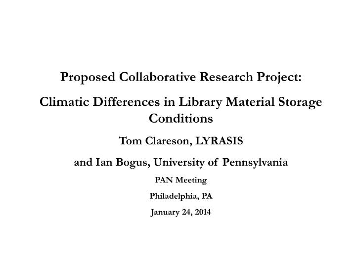 Proposed Collaborative Research Project: