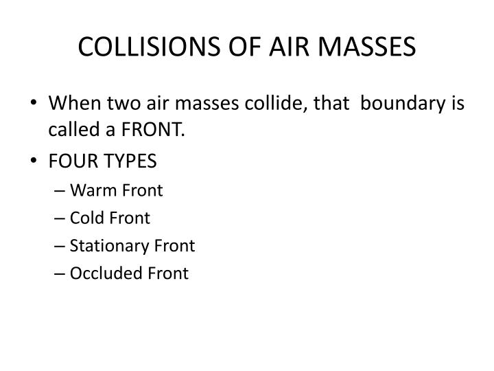 COLLISIONS OF AIR MASSES