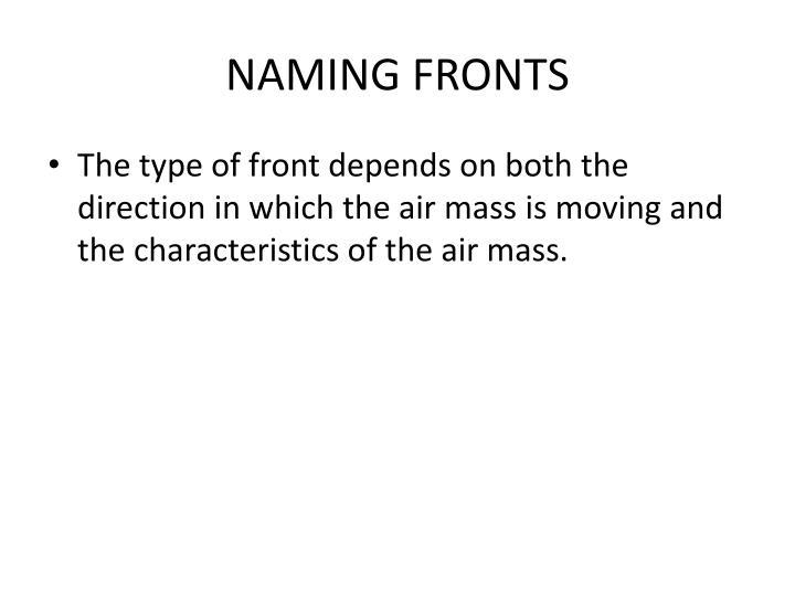 NAMING FRONTS