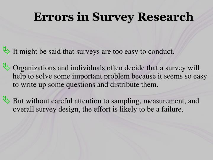 Errors in Survey Research