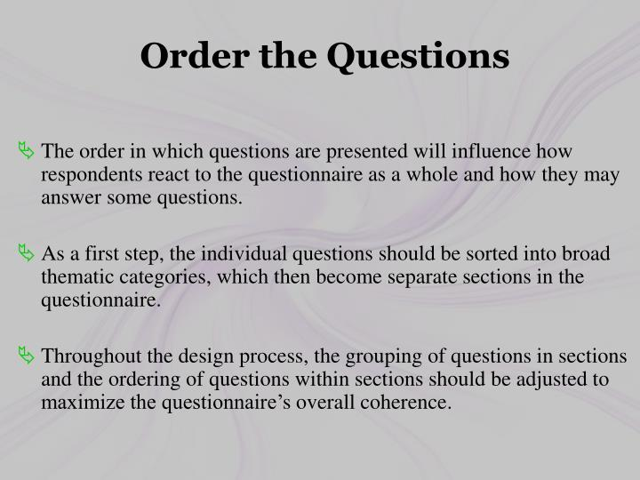 Order the Questions